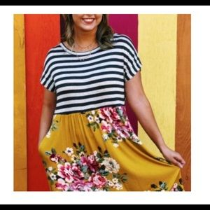 Oddy floral and striped dress